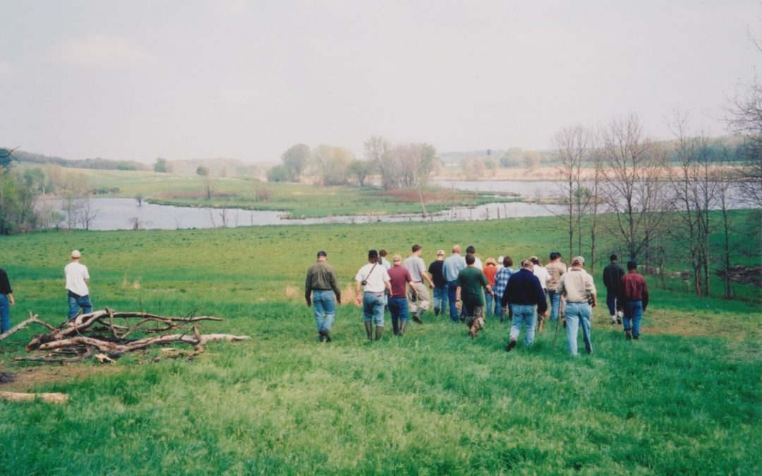 A group of workshop attendees walks towards a wetland.