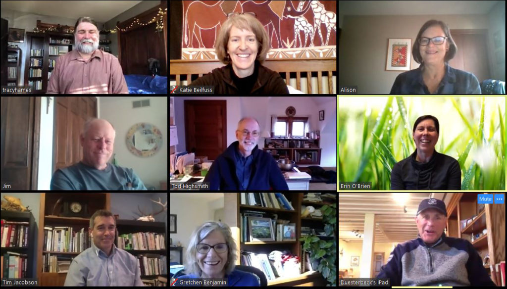 A screenshot of a Zoom virtual meeting with WWA staff and board.